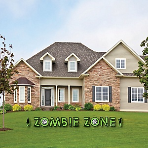 Zombie Zone - Yard Sign Outdoor Lawn Decorations - Halloween or Birthday Zombie Crawl Party Yard Signs - Zombie Zone