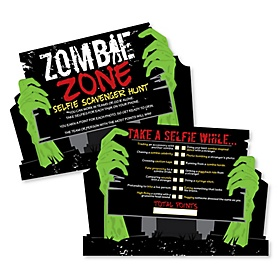 Zombie Zone - Selfie Scavenger Hunt - Halloween or Birthday Zombie Crawl Party Game - Set of 12