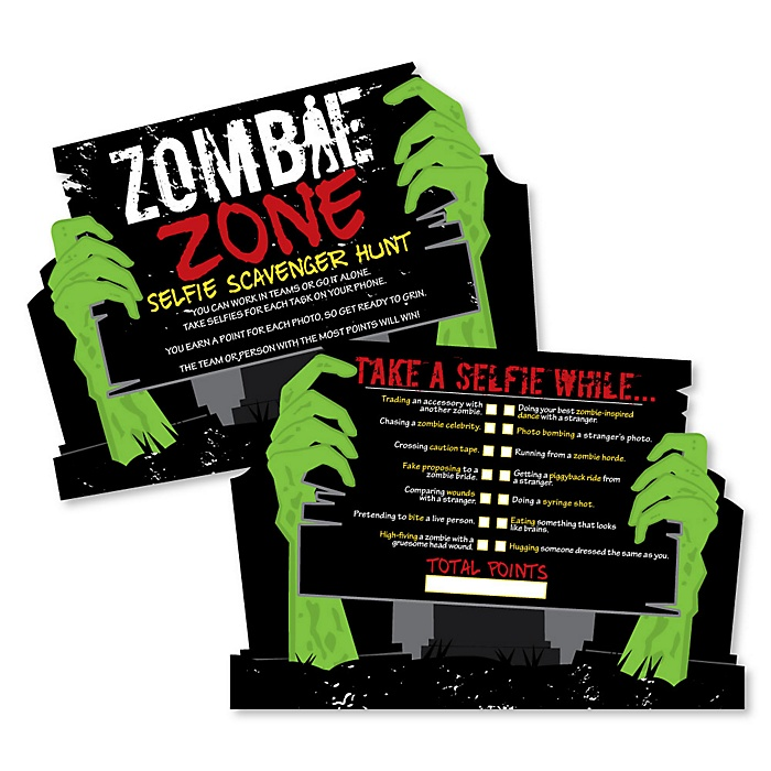 Zombie Zone - Selfie Scavenger Hunt - Halloween or Birthday Zombie Crawl Party Game - Set of 12