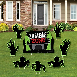 Zombie Zone - Yard Sign & Outdoor Lawn Decorations - Halloween or Birthday Zombie Crawl Party Yard Signs - Set of 8