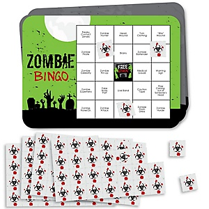Zombie Zone - Bar Bingo Cards and Markers - Halloween or Birthday Zombie Crawl Party Bingo Game - Set of 18