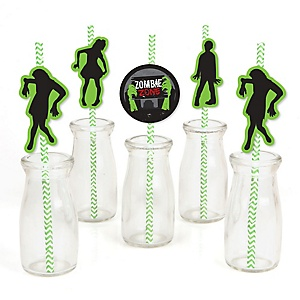 Zombie Zone - Paper Straw Decor - Halloween or Birthday Zombie Crawl Party Party Striped Decorative Straws - Set of 24