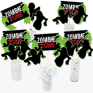 Zombie Zone - Halloween or Birthday Zombie Crawl Party Centerpiece Sticks - Table Toppers - Set of 15