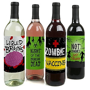 Zombie Zone - Halloween or Birthday Zombie Crawl Party Decorations for Women and Men - Wine Bottle Label Stickers - Set of 4