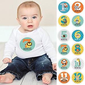 Baby Monthly Sticker Set - Zoo Animals - Baby Shower Gift Ideas - 12 Piece