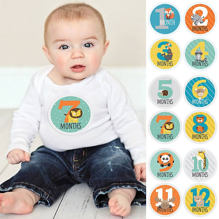 Baby Monthly Sticker Set - Zoo Animals - Baby Shower Gift Ideas - 12 Piece
