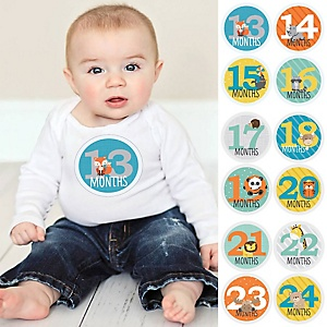 Baby Second Year Monthly Sticker Set - Zoo Animals - Baby Shower Gift Ideas -  13 - 24 Months Stickers