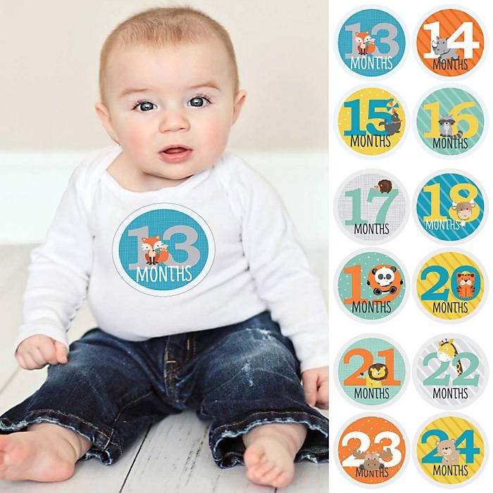 Baby Second Year Monthly Sticker Set - Zoo Animals - Baby Shower Gift Ideas -  13 - 24 Months Stickers