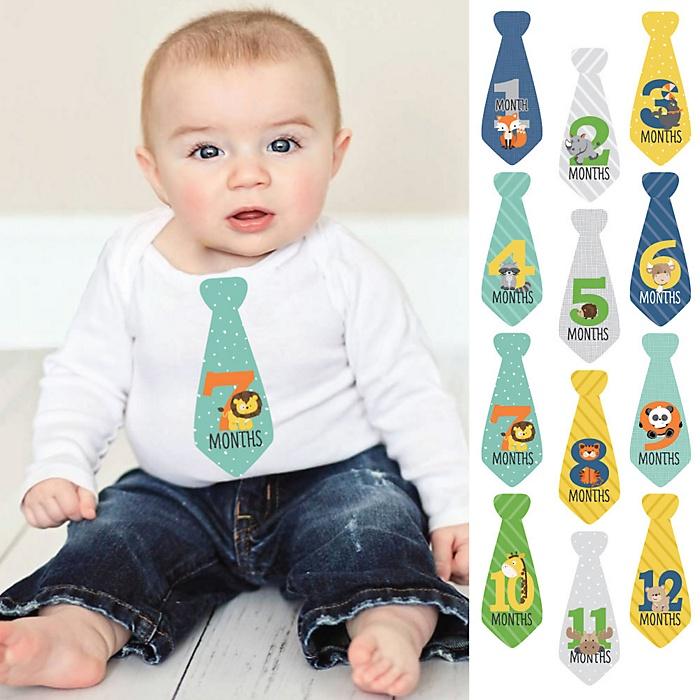 Tie Baby Boy Monthly Stickers - Zoo Animals – Baby Shower Gift Ideas - Necktie 12 Piece