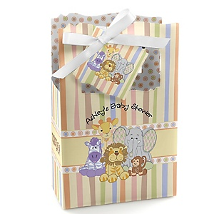 Zoo Crew - Zoo Animals Personalized Baby Shower Favor Boxes - Set of 12
