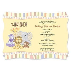 Zoo Crew - Zoo Animals Personalized Baby Shower Invitations - Set of 12