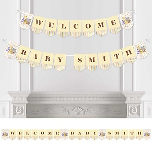 Zoo Crew - Zoo Animals Personalized Baby Shower Bunting Banner & Decorations