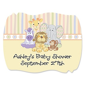 Zoo Crew - Zoo Animals Personalized Baby Shower Squiggle Stickers - 16 ct