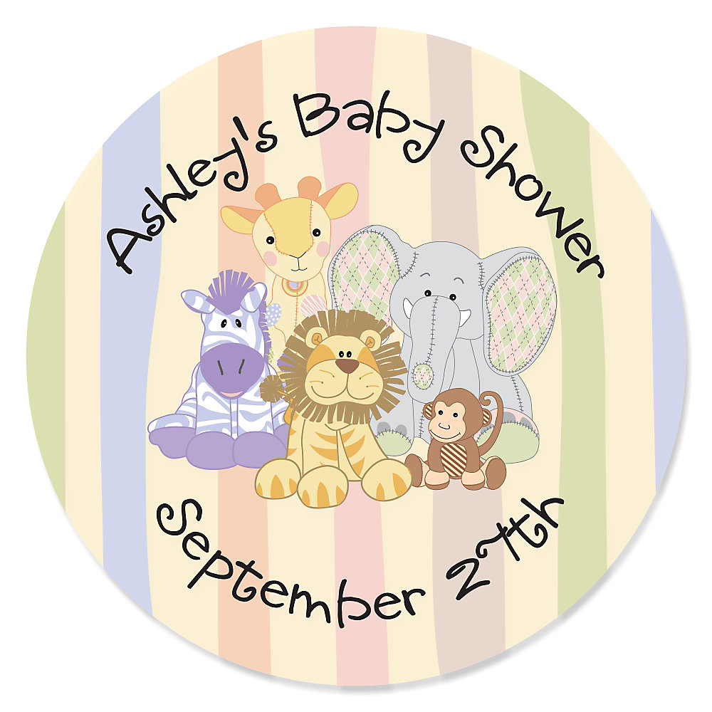 Send To A Friend ». Zoo Crew   Zoo Animals Personalized Baby Shower Sticker  ...