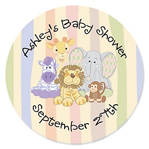 Zoo Crew - Zoo Animals Personalized Baby Shower Sticker Labels - 24 ct