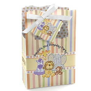 Zoo Crew - Zoo Animals Personalized Birthday Party Favor Boxes - Set of 12