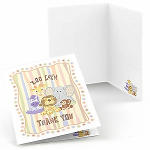 Zoo Crew - Birthday Party Thank You Cards - 8 ct