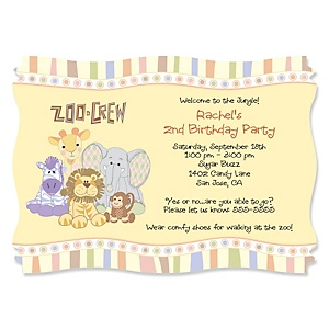 Zoo Crew - Zoo Animals Personalized Birthday Party Invitations - Set of 12