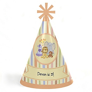 Zoo Crew - Personalized Cone Happy Birthday Party Hats for Kids and Adults - Set of 8 (Standard Size)