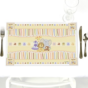 Zoo Crew - Party Table Decorations - Zoo Animals Baby Shower Placemats - Set of 12