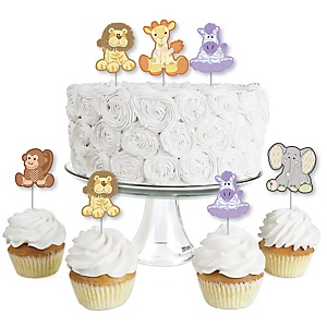 Zoo Crew - Dessert Cupcake Toppers - Baby Shower or Birthday Party Clear Treat Picks - Set of 24