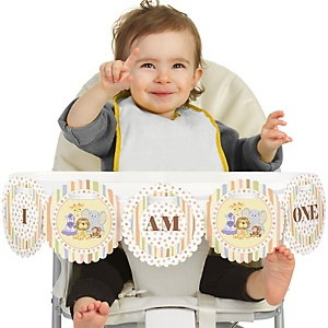 Zoo Crew - Zoo Animals 1st Birthday - I am One - First Birthday High Chair Banner
