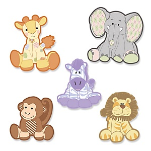 Zoo Crew - Shaped Party Paper Cut-Outs - 24 ct