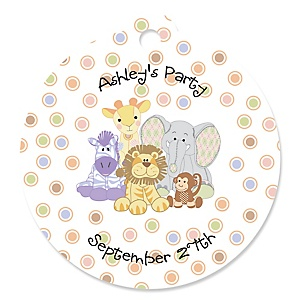 Zoo Crew - Zoo Animals Round Personalized Baby Shower or Birthday Party Tags - 20 ct